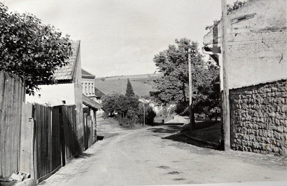 """Rok 1939 a pohled na obec Tučín """"od Netopilového"""". V pozadí je vidět podhajová cesta, která byla vymazána z dějin i katastru obce. Na snímku je vidět také památná Janáčkova lípa, její stáří je více jak 200 let."""