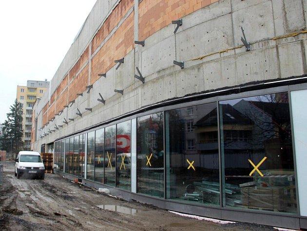 Stavba Galerie Přerov na začátku března 2016