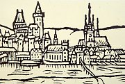 Původní kostel sv. Marka je zachycen na vedutě města Přerova z roku 1593 od Jana Willenbergera.