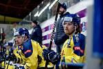 Hokejisté Přerova doma přehráli Chomutov 3:1. Darek Hejcman (vlevo) a Radek Číp