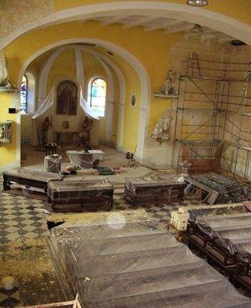 Kostel sv. Markéty - během opravy