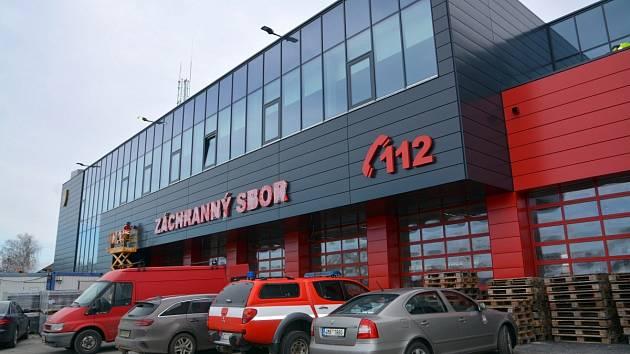 Stavba nové hasičská zbrojnice a tréninkového areálu v ulici 9. května v Přerově. Polovina února 2020