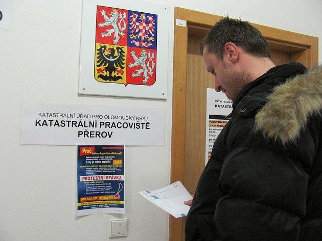 Katastrální úřad v Přerově - v době stávky