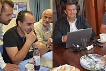 Volební štáby ODS (vlevo) a ANO v Přerově