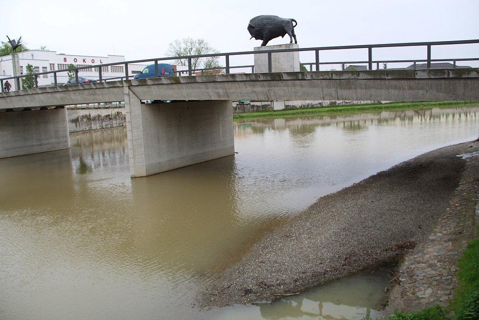 Řeka Bečva v Přerově kolem poledne 14. května 2021