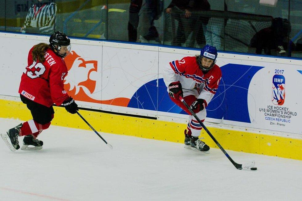 Česko - Švýcarsko. MS hokejistek do 18 let v Přerově