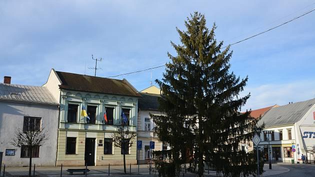 Vánoční strom na náměstí T. G. Masaryka v Přerově