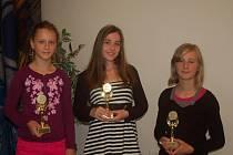Ceny Scholar obdrželi v pátek vždy tři úspěšní žáci z přerovských základních škol, které zřizuje město Přerov. Na snímku jsou ocenění ze Základní školy Pod Skalkou.