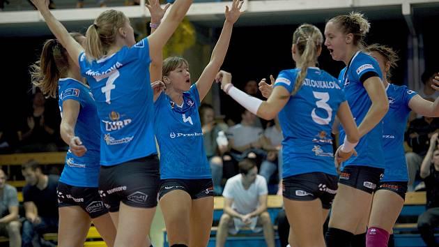 Volejbalistky Přerova (v modrém). Ilustrační foto