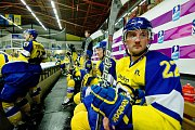 Hokejisté HC Zubr Přerov (v modrých dresech) v přípravě proti Aukro Berani Zlín.