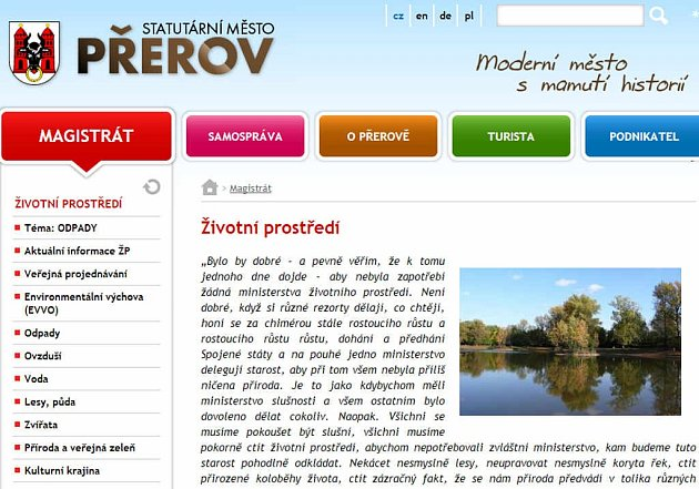 Web města Přerova - životní pprostředí