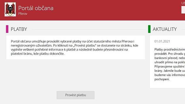 Portál občana - webová aplikace přerovského magistrátu