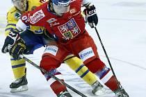 Jakub Svoboda v utkání se Švédy