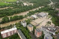 Rozvodněná Bečva v Přerově