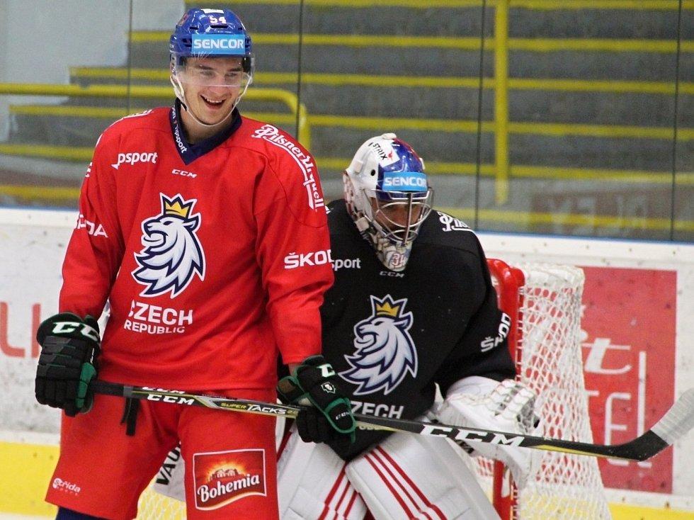 Hokejová reprezentace na kempu v Přerově. David Šťastný a Petr Mrázek