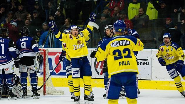 Hokejisté Přerova (ve žlutém) přehráli doma Havířov 6:3