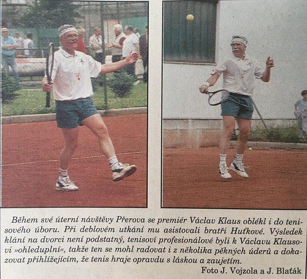 Tehdejší premiér Václav Klaus na tenise vPřerově.