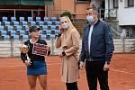 Finále dvouhry tenisového turnaje ITF v Přerově s dotací 25 000 amerických dolarů. Grace Minová (ve žlultém) porazila Georginu Garcii-Perezovou.