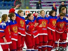 Ruská sborná po vítězném čtvrtfinále s českými juniorkami na MS hokejistek do 18 let v Přerově