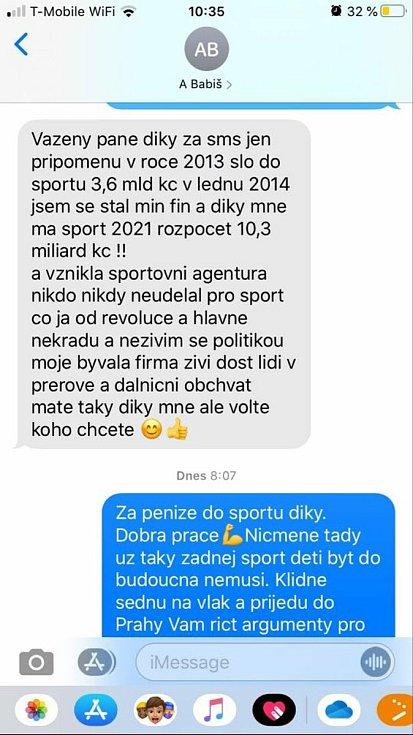 Část konverzace mezi Andrejem Babišem a Davidem Chudou.
