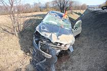 Následky nehody u Lipníka nad Bečvou