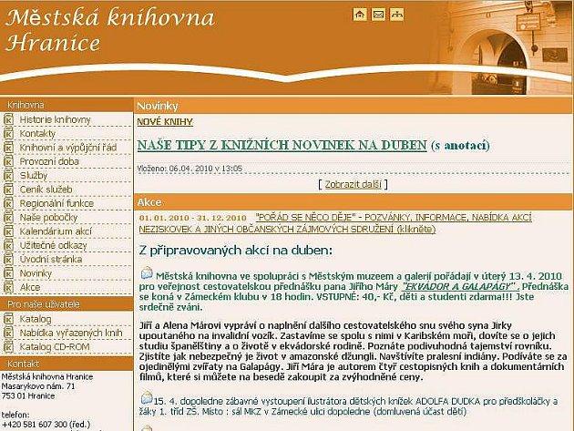 Web Městské knihovny Hranice