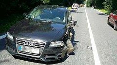 Srážka dvou aut u Černotína