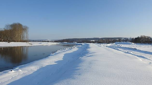 Ústí 17. ledna 2021 - revitalizace toku řeky Bečvy v Ústí u Hranic