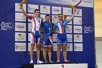 Jakub Vývoda (první zprava) na stupních vítězů mistrovství Evropy v Portugalsku