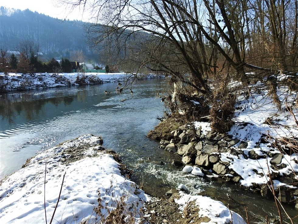 Zimní Hranice ve středu 20. ledna - u Tofy řeka Bečva.