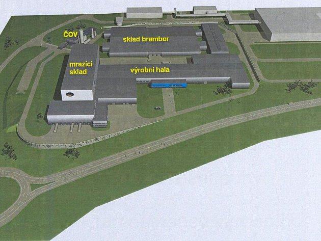 Vizualizace továrny.
