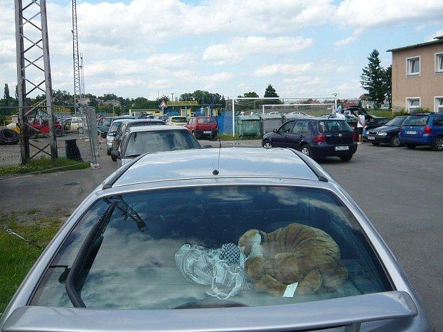 S malou kapacitou parkoviště se potýkají řidiči před hranickým koupalištěm. Parkovat proto musí, kde se dá.