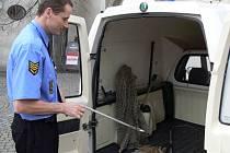 Zatoulaná zvířata, která strážníci odchytávají pomocí tyčí, speciálních rukavic a sítě, jsou převážena do Olomouce.