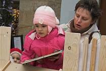 Po dřevěné skluzavce sjíždí k vánočnímu stromku na hranickém zámku dárky pro potřebné.