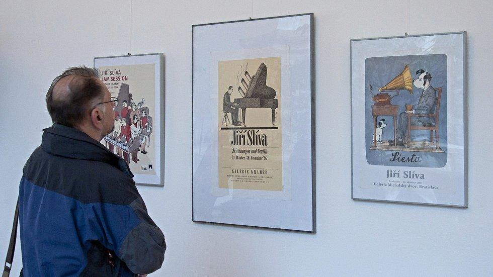 Výstava Jazz pro oči kreslíře a karikaturisty Jiřího Slívy v hranické Galerii severní křídlo zámku v rámci Evropských jazzových dnů v Hranicích