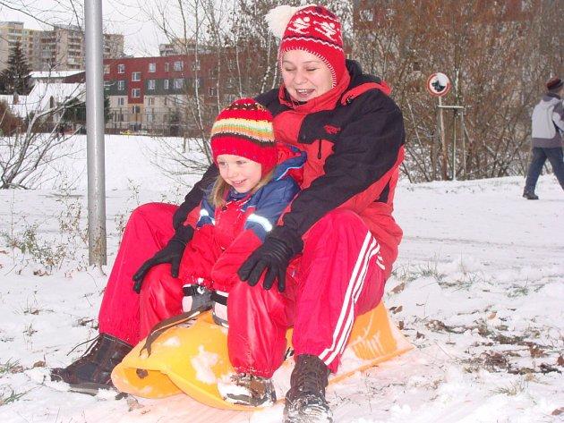 Z prvního sněhu měly největší radost děti.
