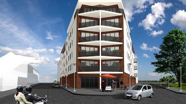 Vizualizace bytového komplexu, který má vyrůst na pomezí ulic Jiřího z Poděbrad a Jaselská