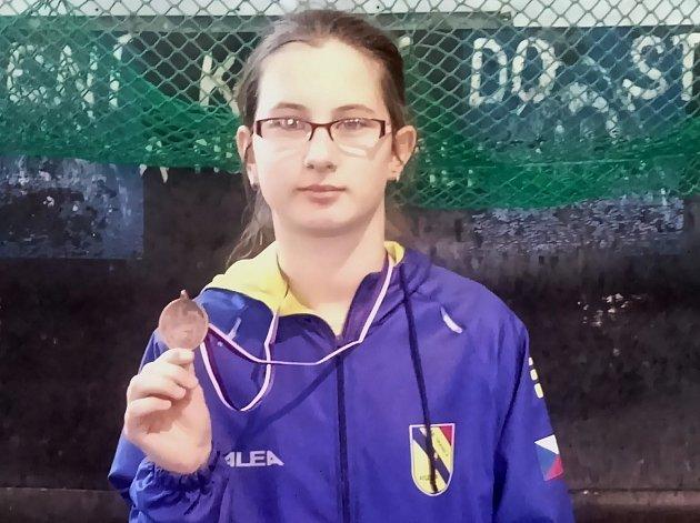 Hraničtí atleti na krajských přeborech mladšího žactva v Olomouci. Barbora Odstrčilová