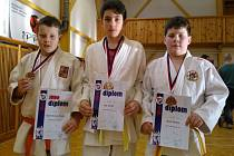 Roman Chytrý, Ondra Rác (Judo Femax Engineering Hranice) a Roman Mikeš (SK Přerov)