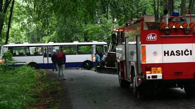 Autobus se otáčel kvůli spadlému stromu.
