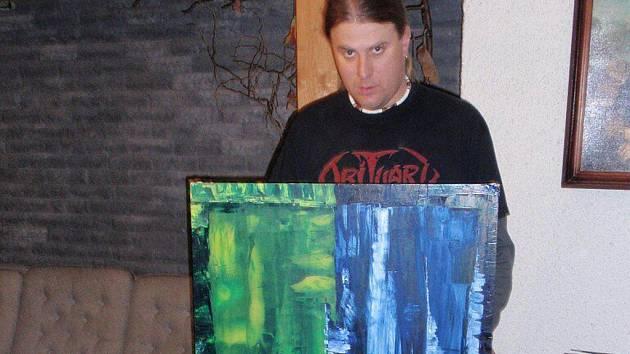 David Doubravský se svým obrazem