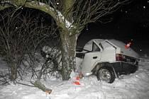 Řidič nezvládl jízdu na zasněžené cestě a narazil do stromu.