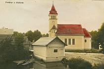 Na dobové pohlednici je kostel zasvěcený neposkvrněnému početí Panny Marie, postaven byl v letech 1913 – 1914. Pyšní se bohatě zdobeným a velmi cenným interiérem.