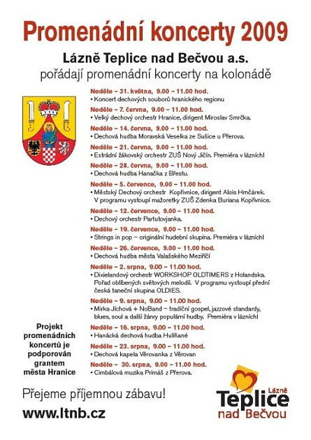Program promenádní koncerty lázně Teplice nad Bečvou