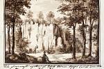 Grafika již neexistujícího Slečnina hradu z Hranicka z Gallašova rukopisu.