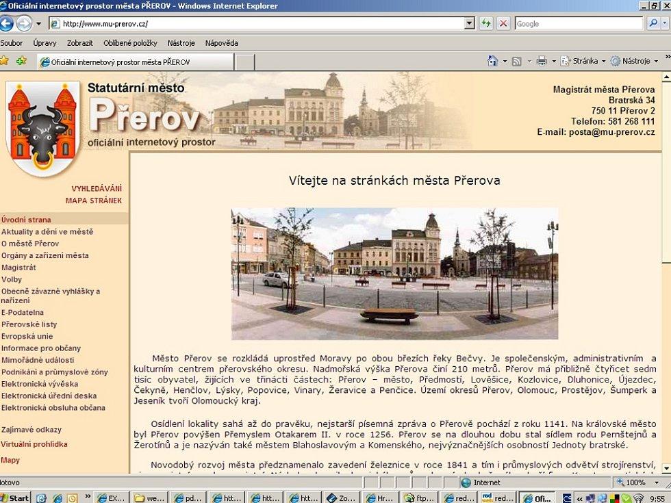 Obyvatelům Přerova se stávající webové stránky města zdají nepřehledné.