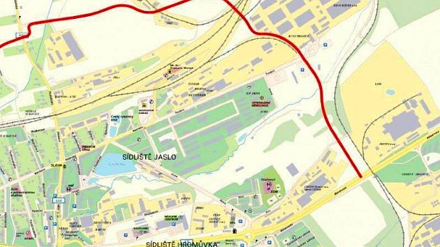 Mapa plánovaného obchvatu Hranic.