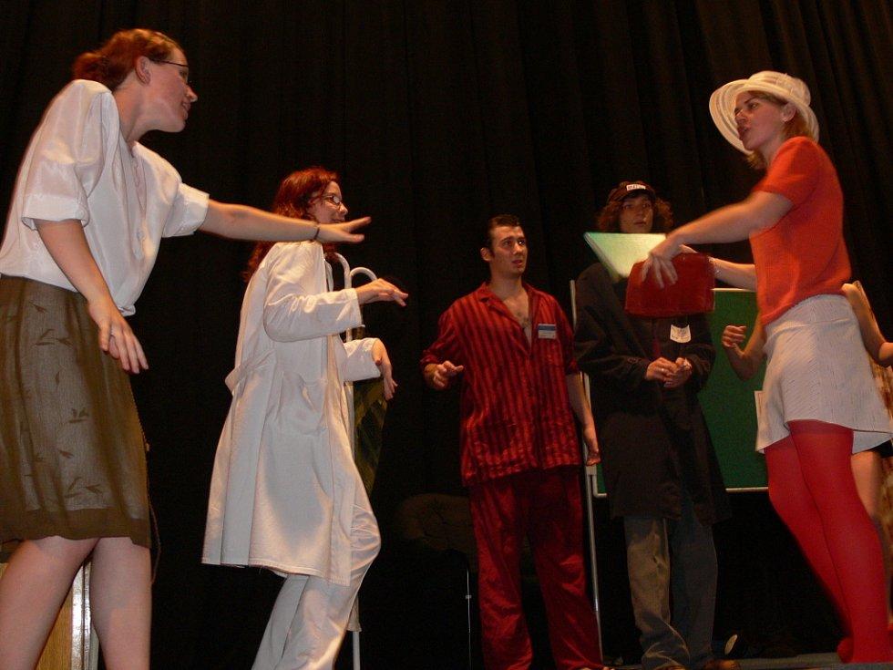 Divadelní komedii Blázinec v Zátiší předvedli v hranickém kině Svět studenti hranického gymnázia.