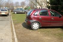 Řidiči parkují auta, kde se dá. Není nic neobvyklého, když je odstaví na chodníku či na trávě.