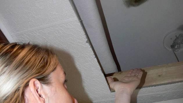Kateřina Hoffmannová z Hranic ukazuje na skvrnu, kterou jí na stropě způsobila vlhkost.